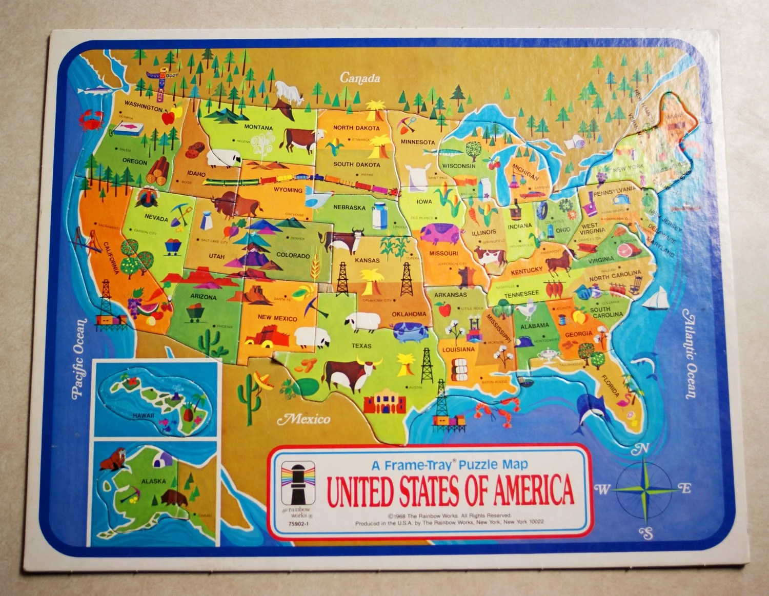 Vintage United States Of America Map Puzzle