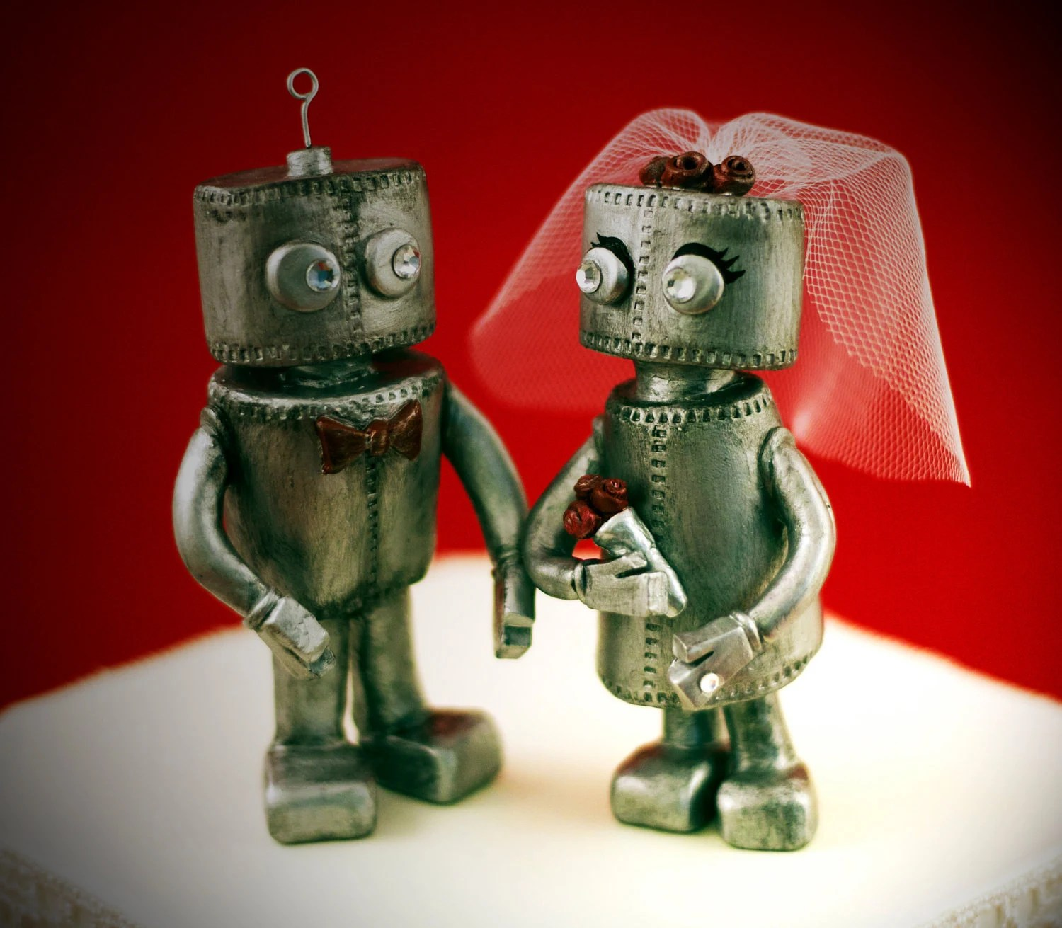 Custom Robot Wedding Cake Toppers - Personalized - jennibcreative
