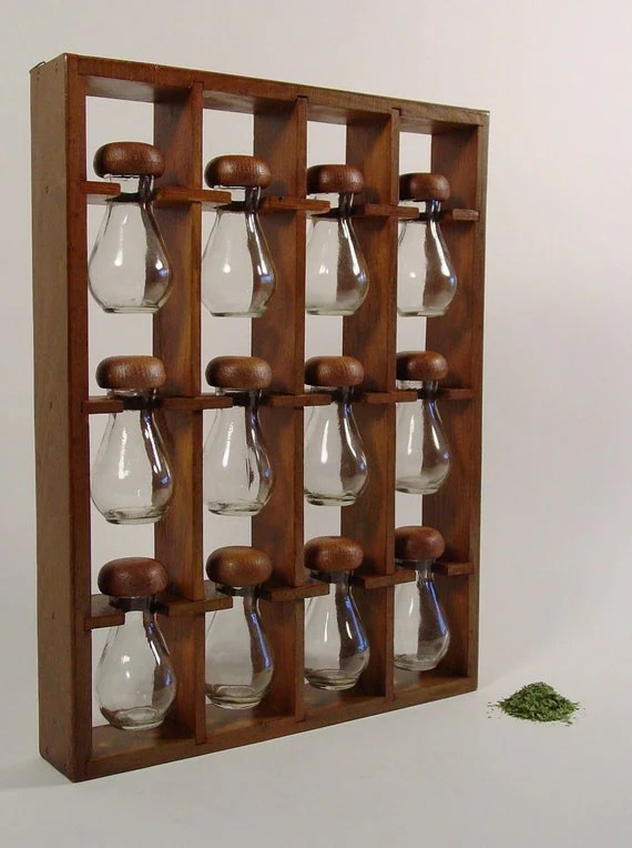 Spice Rack Mid Century Wooden Spice Rack With 12 Spice