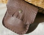 Taupe Leather Belt Pouch with Antique Brass Snap