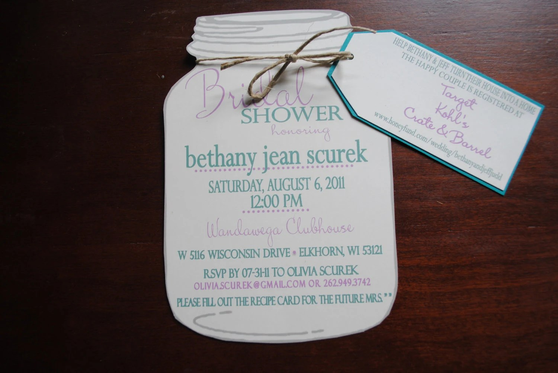 Mason Jar Bridal Shower Invitations With Registry By