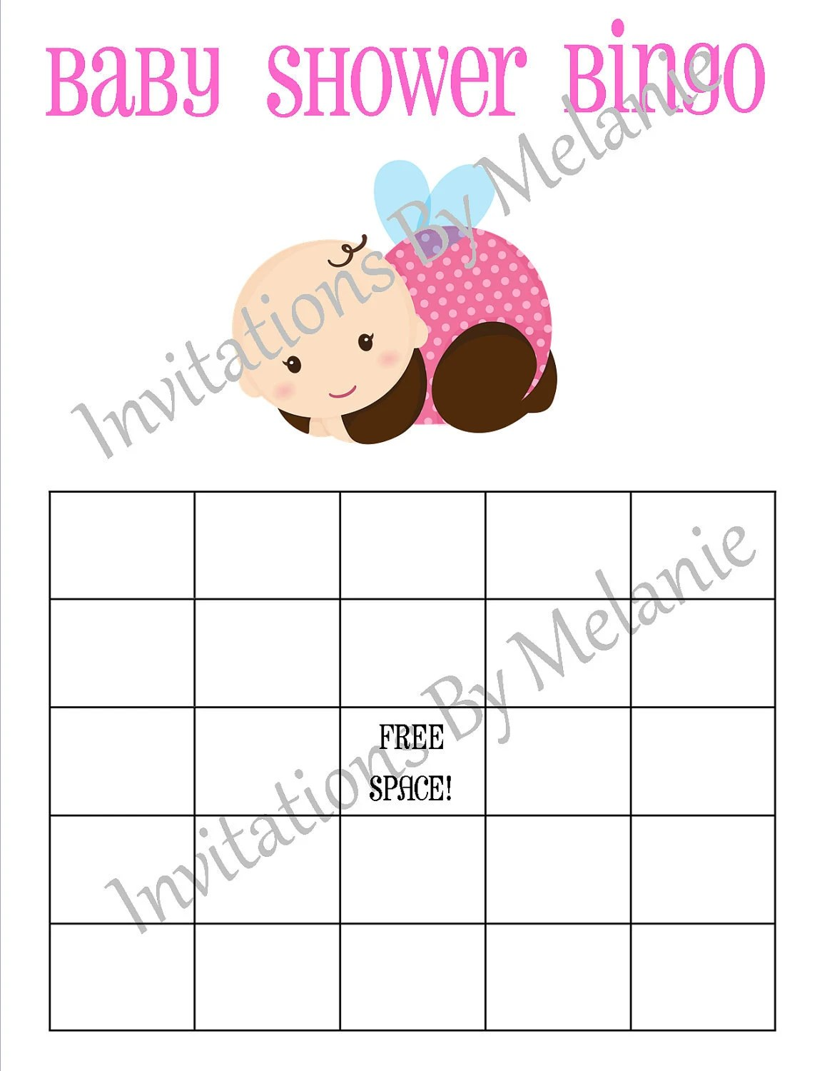 Items Similar To Girl Baby Shower Bingo Card Printable Or I Can Print On Etsy