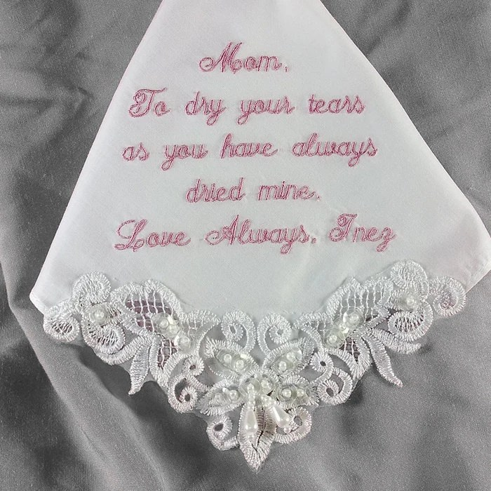 Mother of the Bride Wedding Handkerchief Embroidered Personalized 9201C