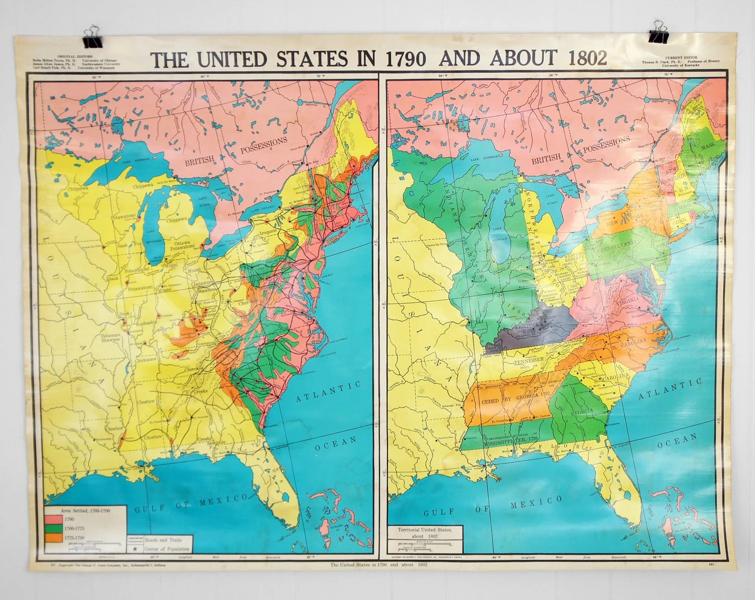 Vintage United States History Classroom Wall Map By