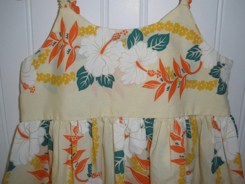 Vintage Little Girl S Hawaiian Dress Beautiful Hibiscus