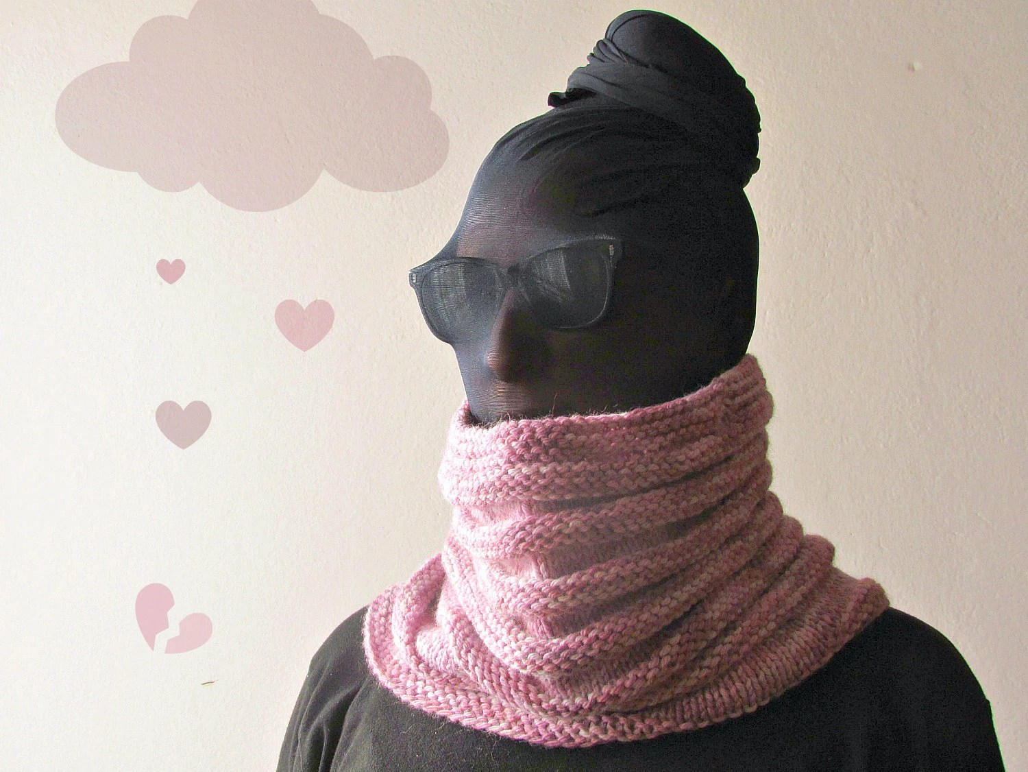 Pink chunky Cowl Scarf for Valentine - Merino wool - Ribbed style - super cozy accessory - fall fashion - woman - theYarnKitchen