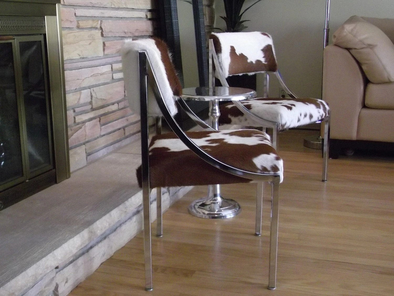 Vintage Chrome And Cowhide Dining Chairs Set Of Four