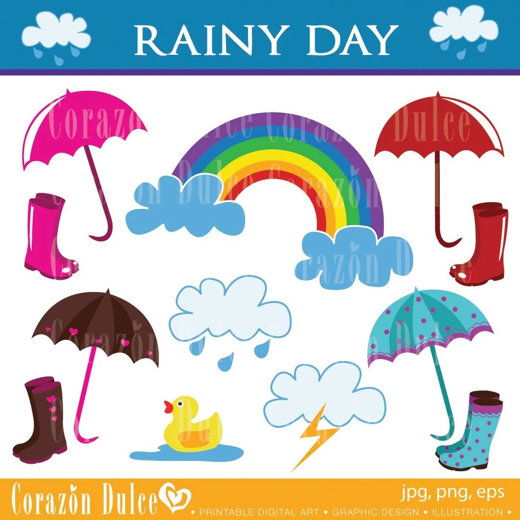 Clipart Rainy Day Digital Clip Art Set Personal And
