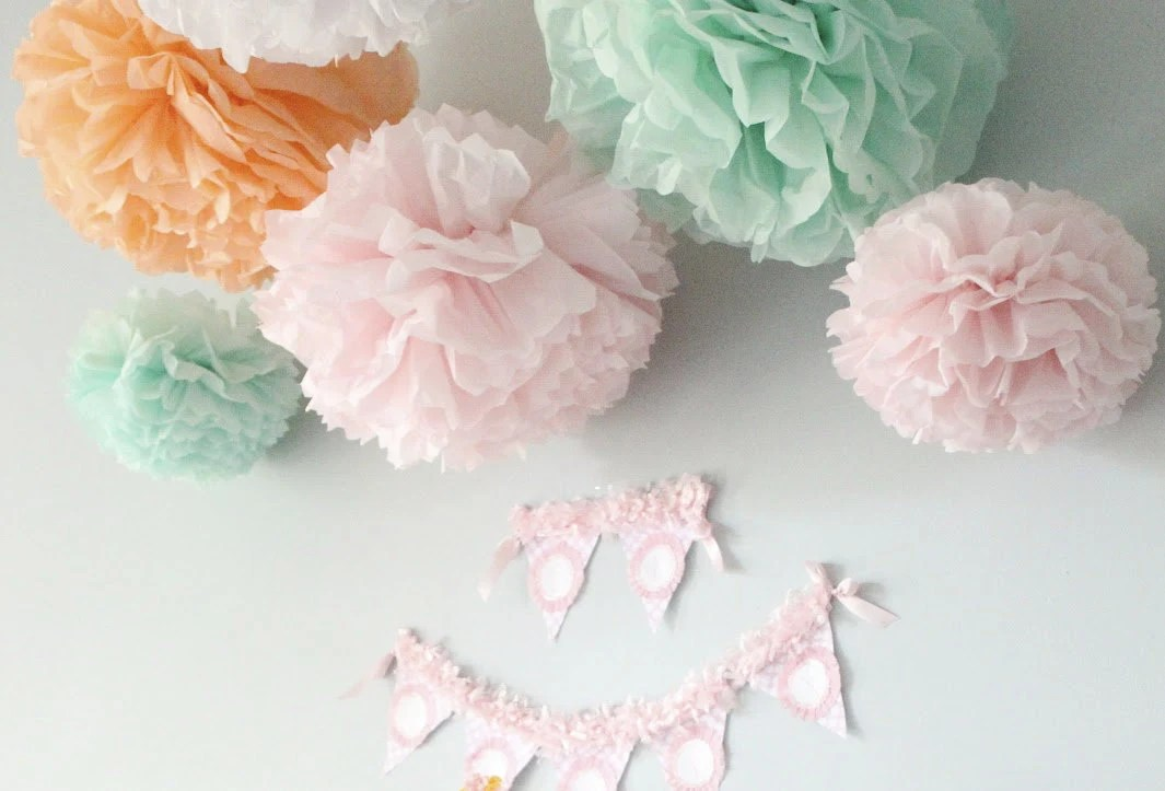 Maggie Collection- 5 Pom Poms- baby girl shower hanging decorations/ wedding shower/ getaway car decoration/ vintage party decorations - PaperwhiteDesigns