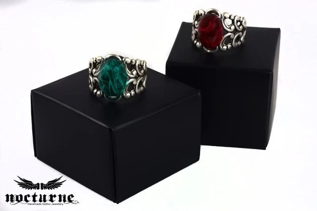 Gothic Ring with Ruby Red Stone - Silver Plated Adjustable Ring - Victorian Gothic Jewelry