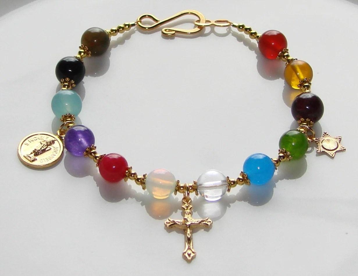 Hebrew 12 Tribes Of Israel Bracelet Christian Gems Gold