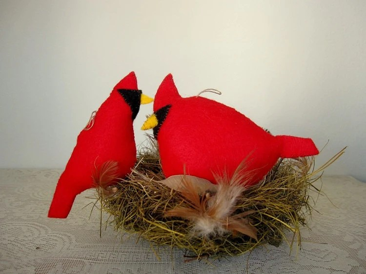 Cardinal Bird,  Hand Sewn, Stuffed Animal - PoofyDove