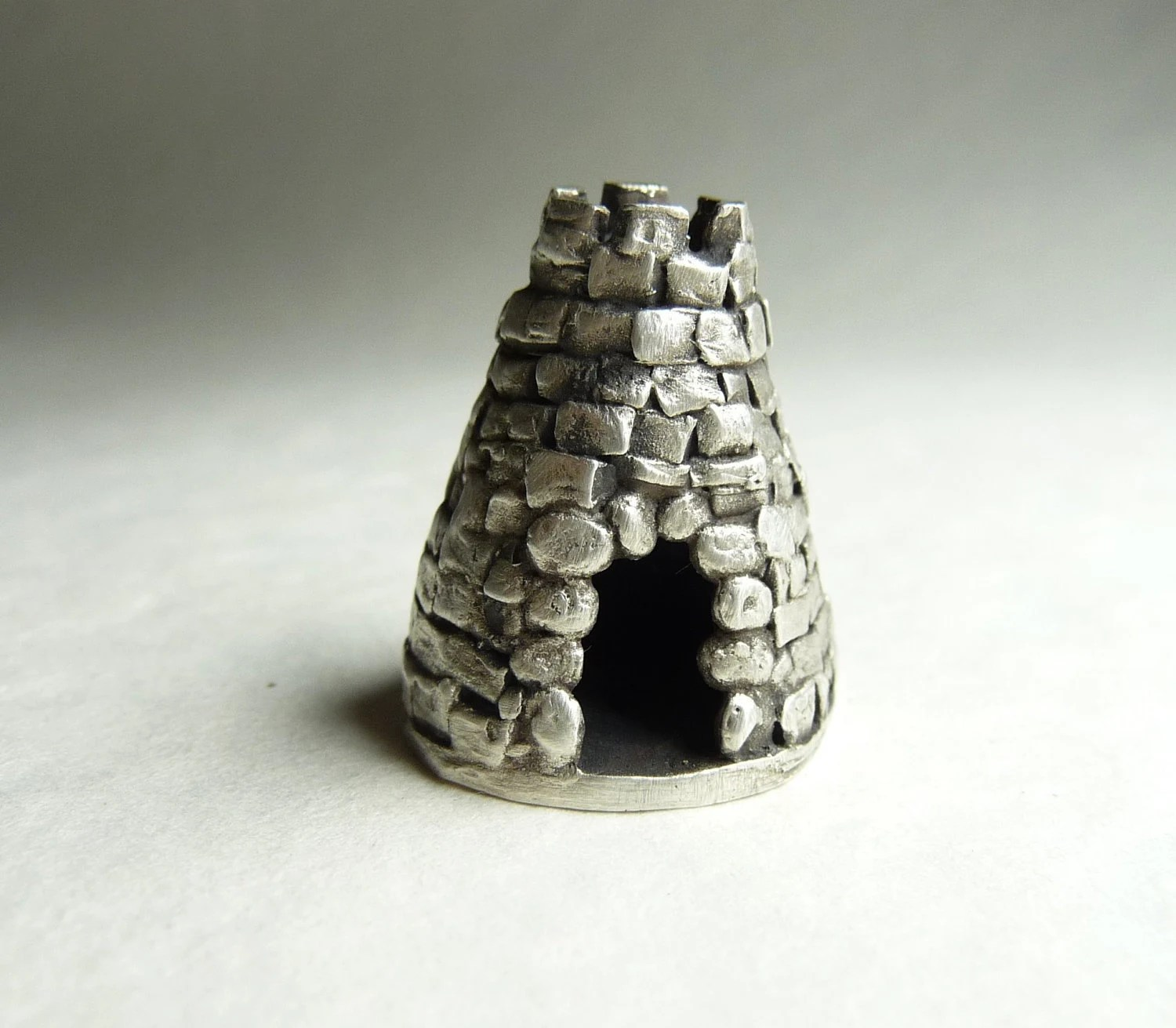 """Haunted Halloween castle hidden message inside miniature tower built by hand from recycled fine silver, """"The Renhewitz Tower"""" - DreamofaDream"""