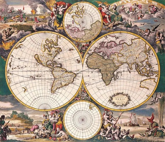 Vintage Old World Map Illustration 18th By Memoriespictures