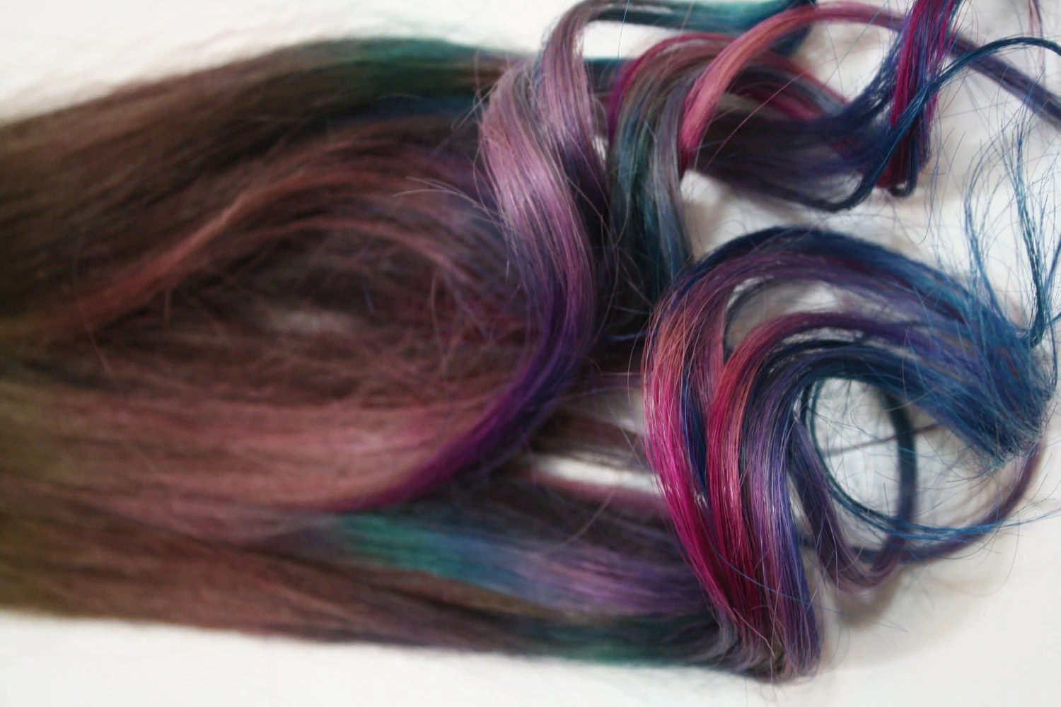 Tie Dye Dip Dyed Hair Extensions Brunette Hair Clip In Hair
