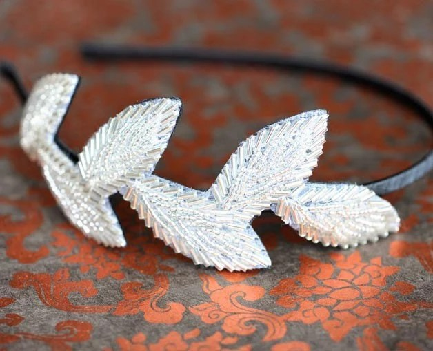 Beaded Leaves Headband
