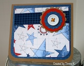 Primitive Americana Stars Refillable Covered Post It Note Pad - Americana Gifts