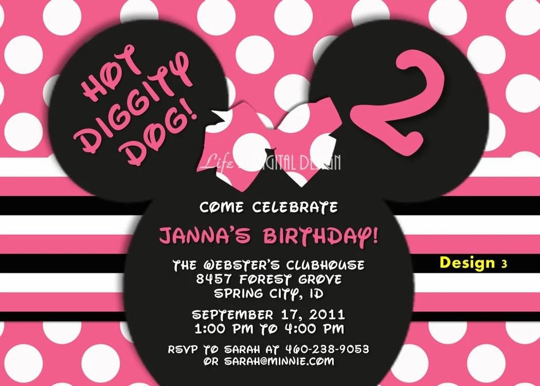 Minnie Mouse Invitations Birthday Pink By Lifesdigitaldesigns