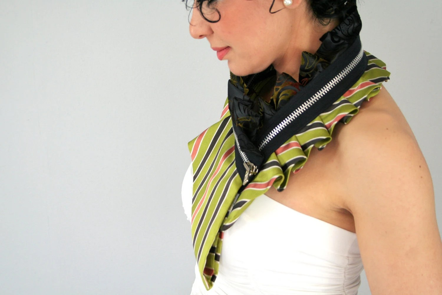 Eco fashion collar from upcycled silk in stripy green and velvet black, womens neckwear, striped collar, neck collar - Bartinki