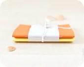 Set of orange and yellow handmade journals (notebooks) - Buntmal
