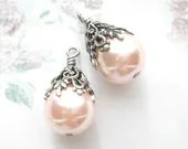 Soft Pink Faux Pearl Bead Charms in Antiqued Silver - MoonflowerMercantile