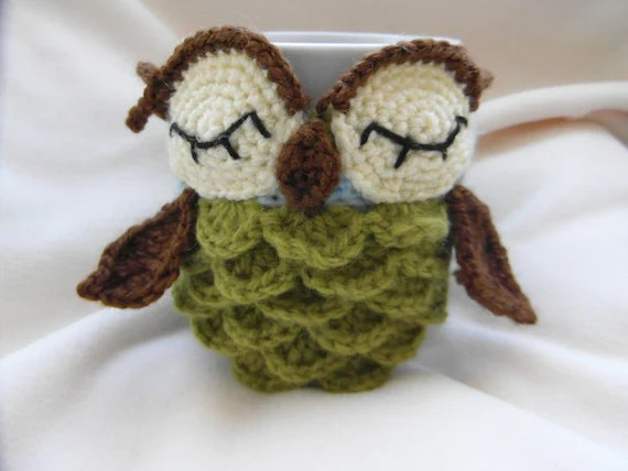 Owl mug cozy pattern - PDF instructions