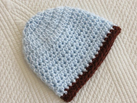 Crochet Baby Hat, Baby Blue and Chocolate Crochet Baby Hat, Photo Prop, Newborn Baby Hat, Baby Boyl Hat