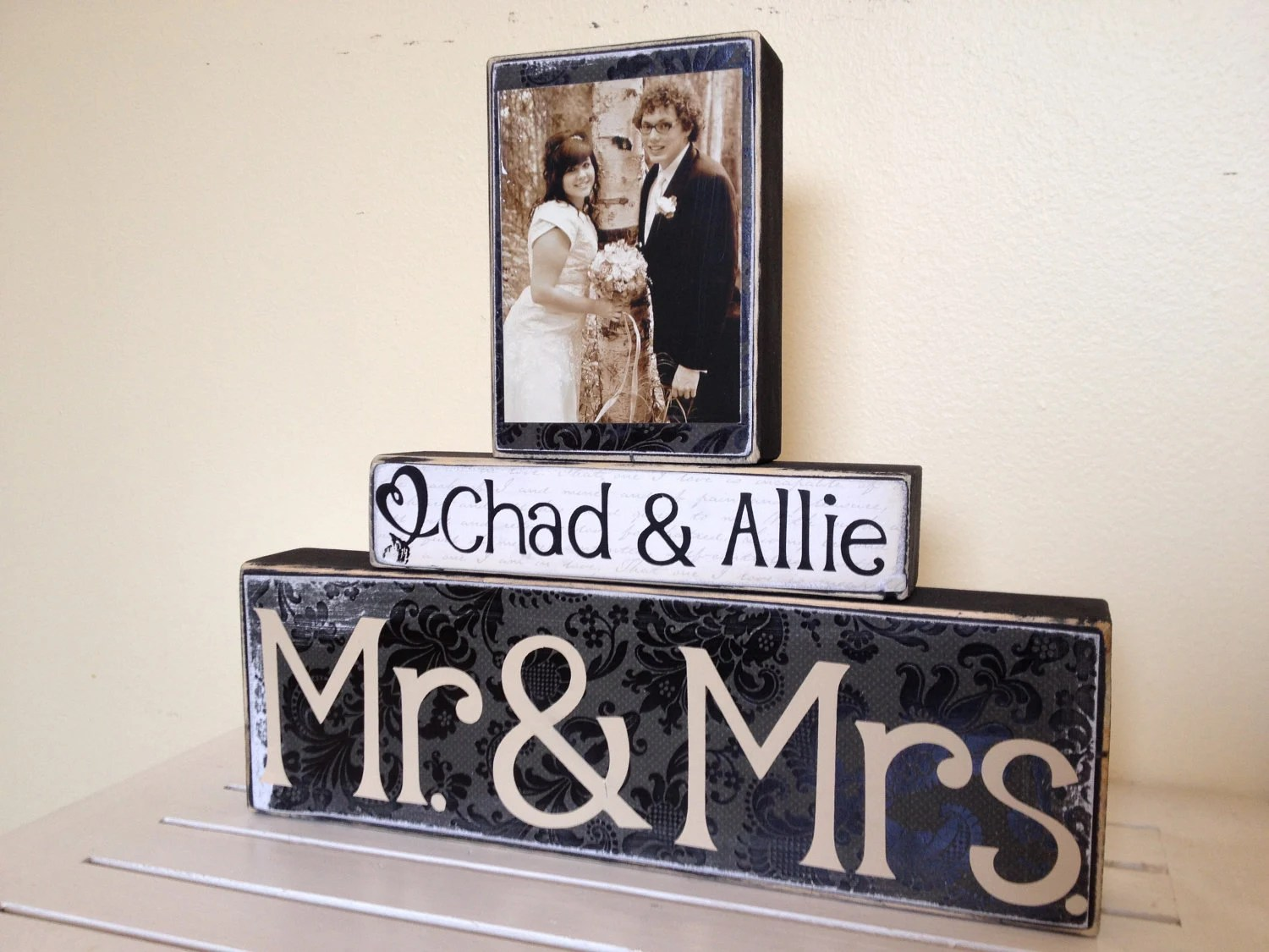 Mr And Mrs Wedding Decoration Black Painted Wooden Blocks