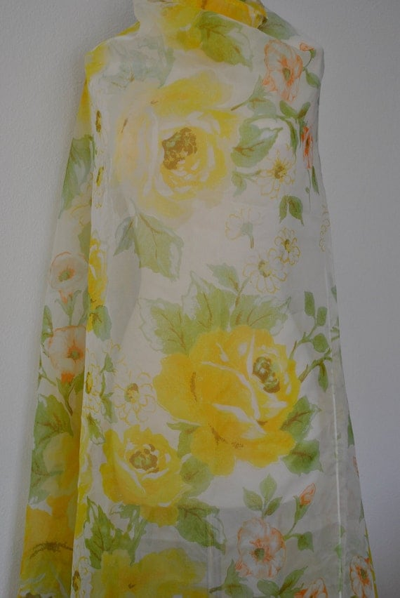 Shower Curtain Vintage Sunny Yellow Rose