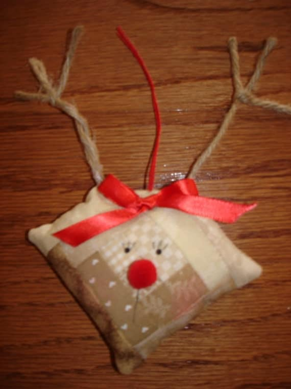 Log Cabin Rudolph Reindeer Quilted Ornament Christmas