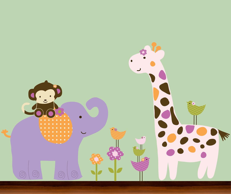 Items Similar To Girls Baby Nursery Jungle Animals Decal
