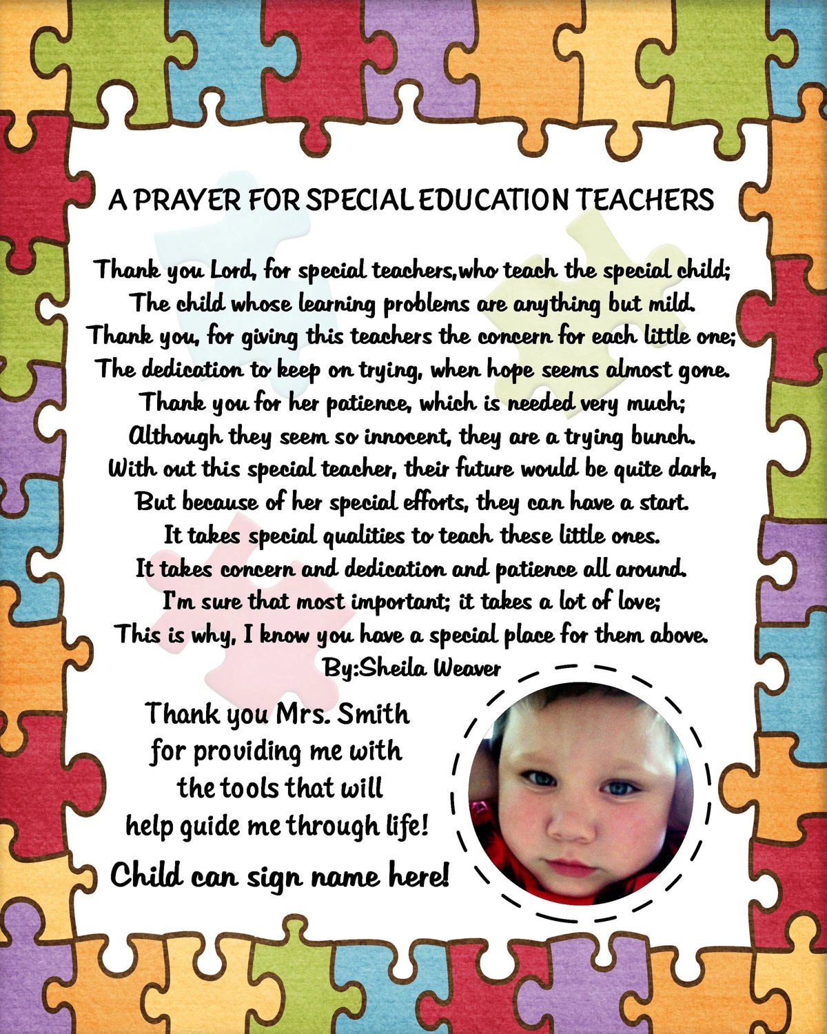 Personalized Autism Special Needs Teacher By Vmiddleton5