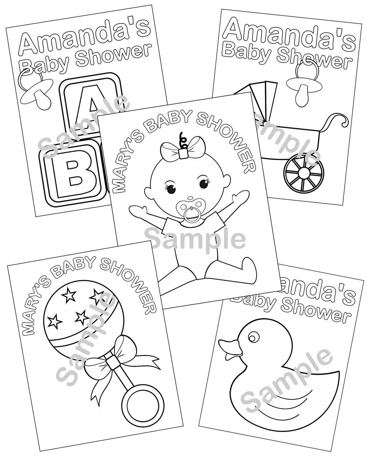 5 Personalized Printable Baby Shower Favor Childrens Kids