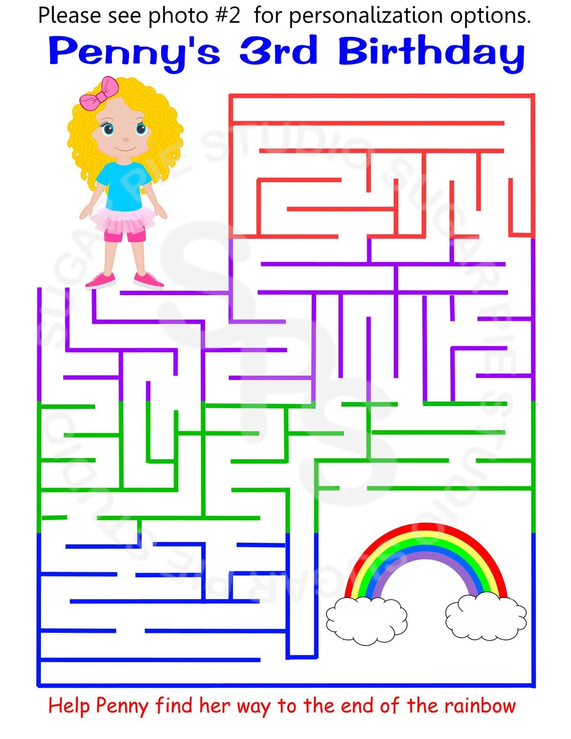 Printable Personalized Rainbow Activity Maze By Sugarpiestudio