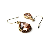 Blush Pink Earrings - Gold Bridal Jewelry, Peach - Modrn