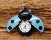 Black Blue Beetle Ladybug Pocket Watch Necklace Pendants Beetle Ladybug Charms Pandent 32x26mm P68 - IdaFindings