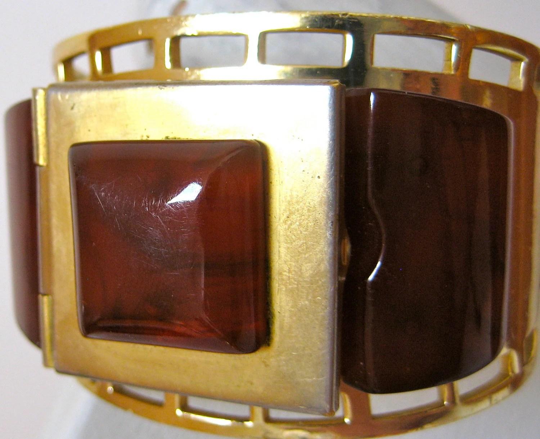 1930s French Bakelite Josephine Baker Flamand Fladium Compact Bracelet
