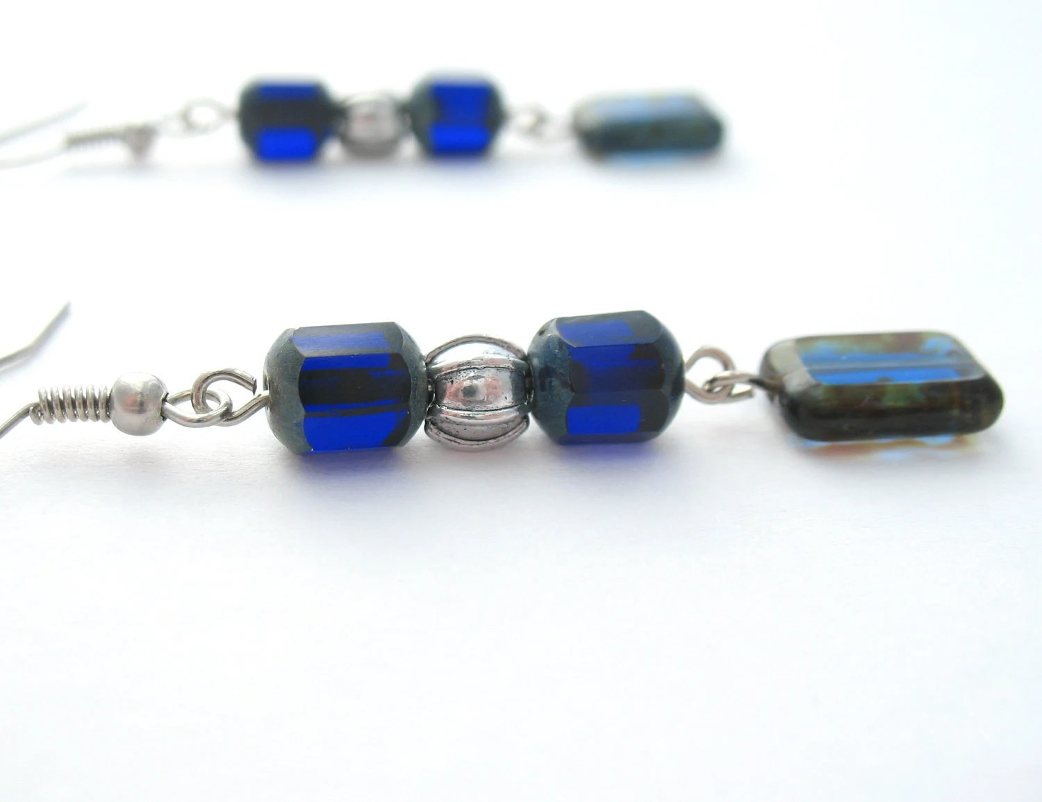 Dark Blue Czech Glass Dangle Earrings - Geometric Jewelry - MoonlightShimmer