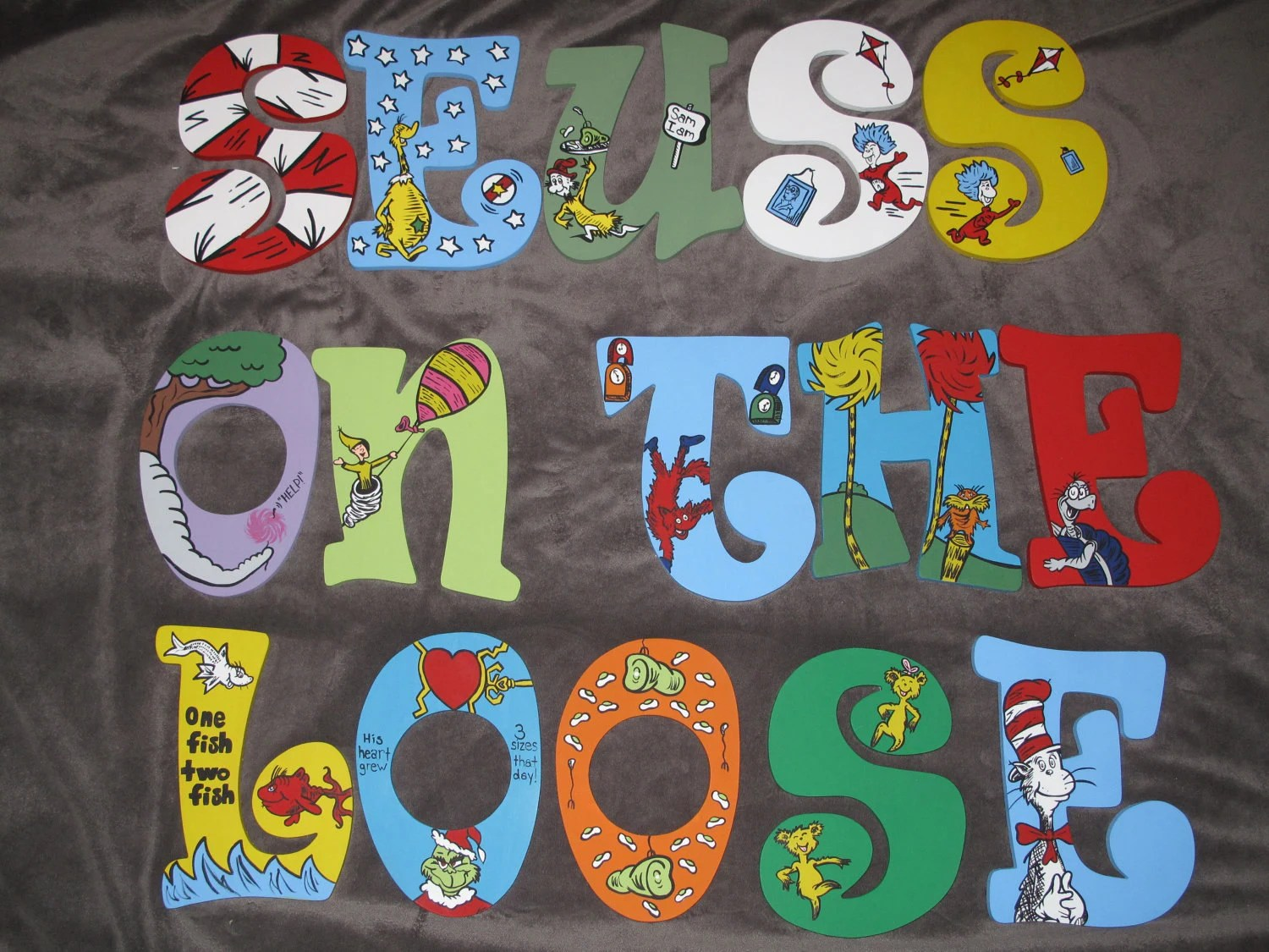 Dr Seuss Inspired Hand Painted Letters Message By