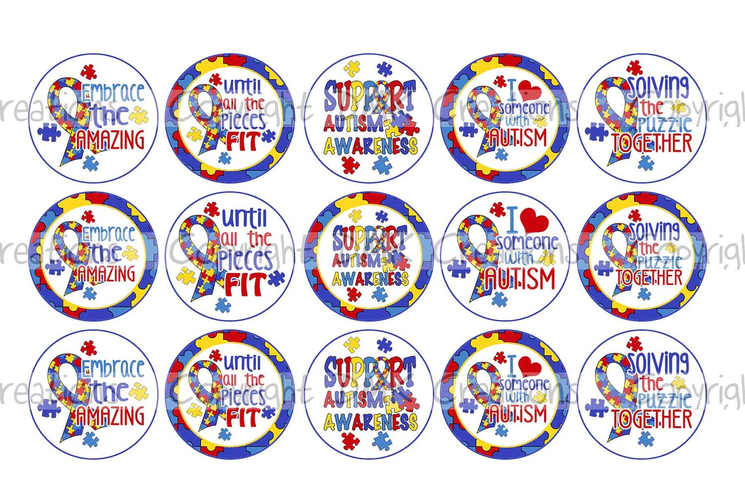 Support Autism Awareness Bottle Cap Images 4x6 Printable