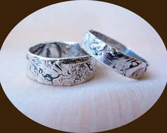 Mans Wedding Band Silver Rustic Antiqued Finish With