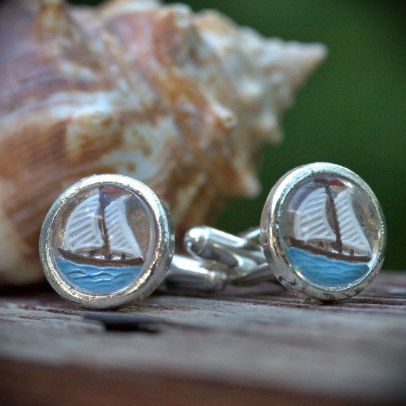 Nautical vintage Cufflinks, Sail boat, silver, resort wear, Ocean blue, Beach wedding Pirate unisex, groomsman, best man, fish fishing - RADboutiqueCelebrate