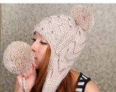 Oatmeal Hand Knit Hat The Ear Flap Hat pompom Chunky Knit Autumn Accessories Winter Accessories Fall Fashion - Magicdoll