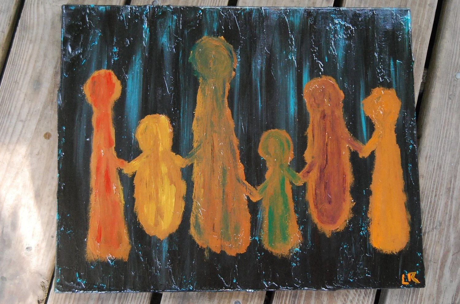 "Original Artwork Painting The Colors of Friendship 16""x 20"" Stretched Canvas"