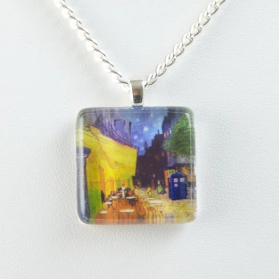 Cafe with TARDIS necklace by ArtfulExcursions