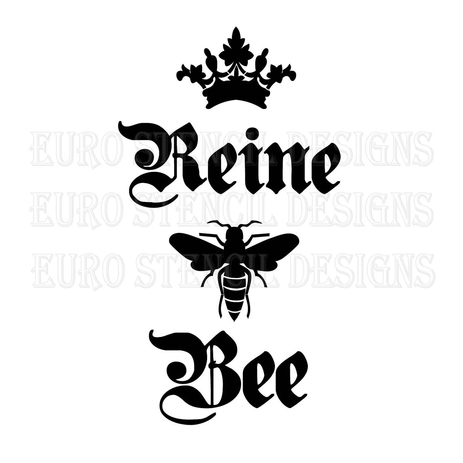 Euro Stencil Design Queen Bee Crown French Stencil Used 4