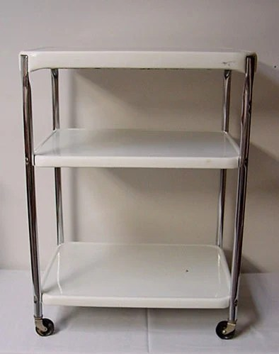 Vintage Cosco Kitchen Cart Metal Chrome Utility Retro