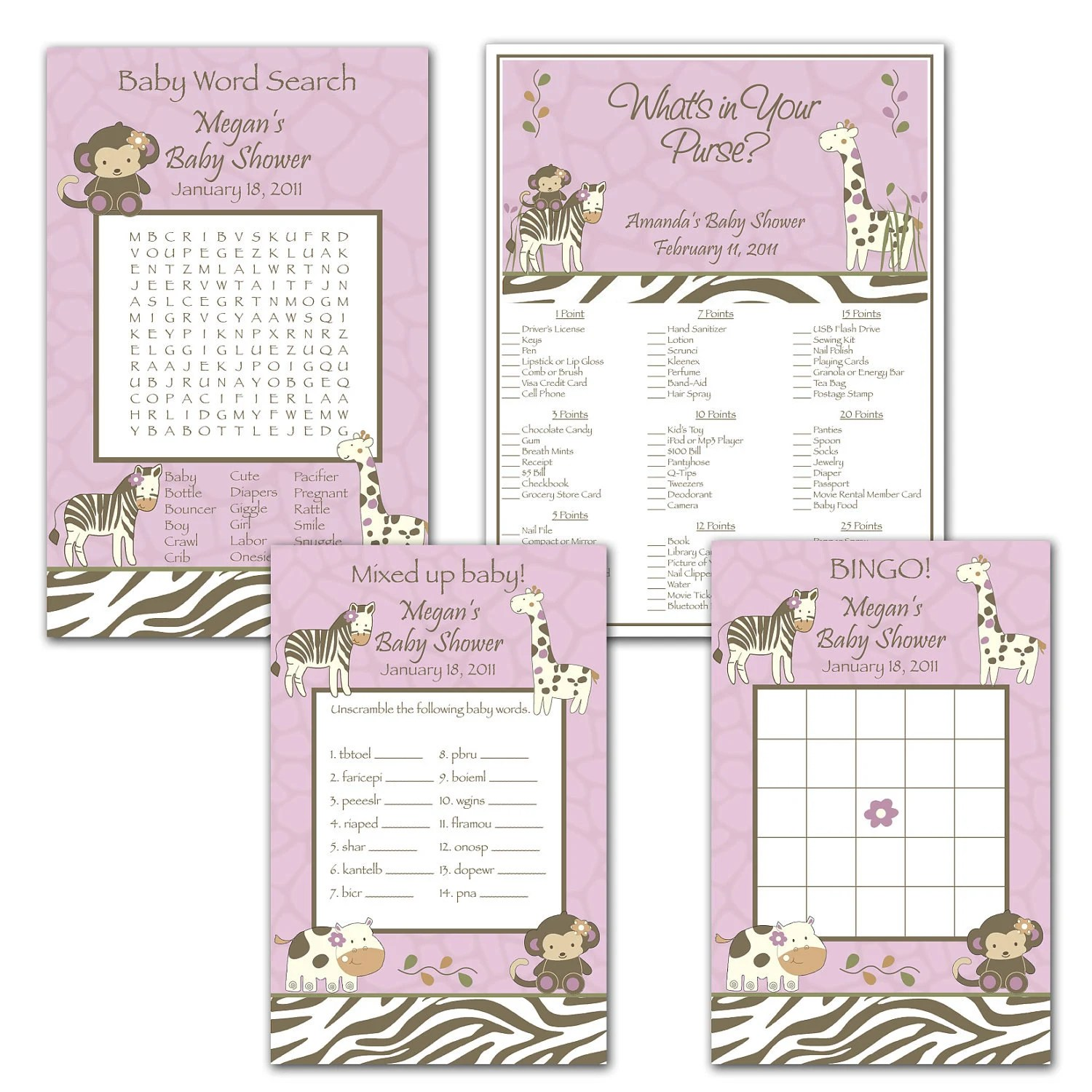 Printable Cocalo Jacana Digital Baby Shower Games By Bdesigns4you