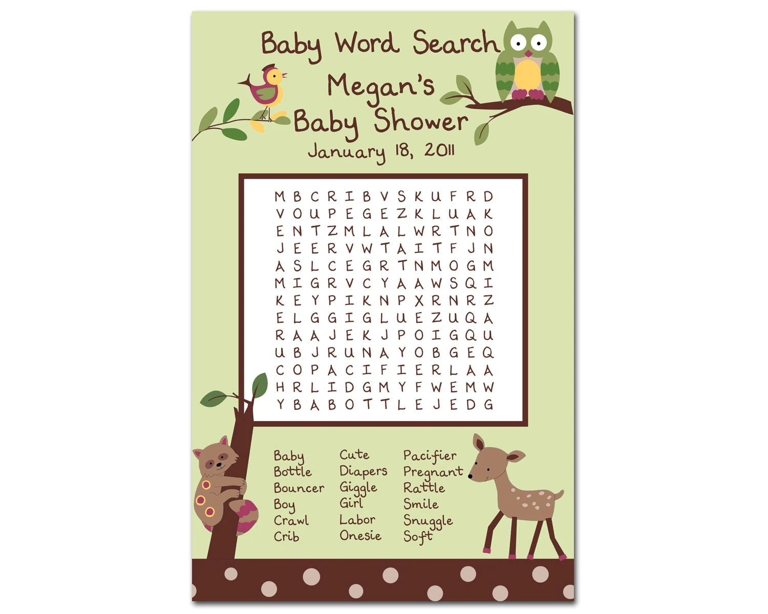 Printable Enchanted Forest Baby Shower Word Search By Bdesigns4you