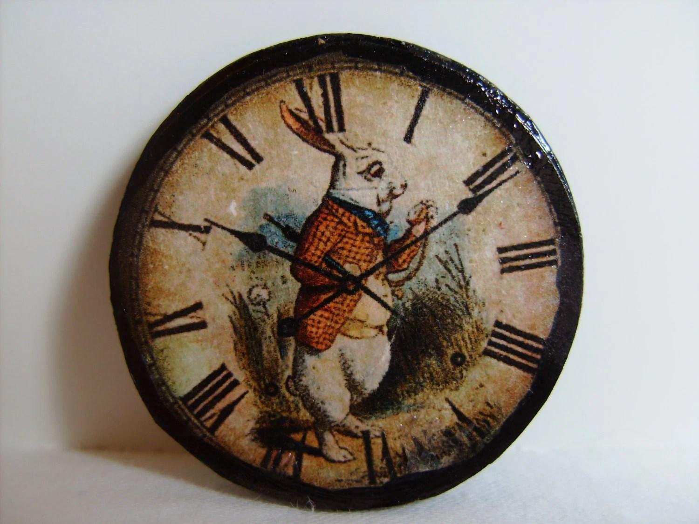 Miniature Wall Clock Alice S White Rabbit One